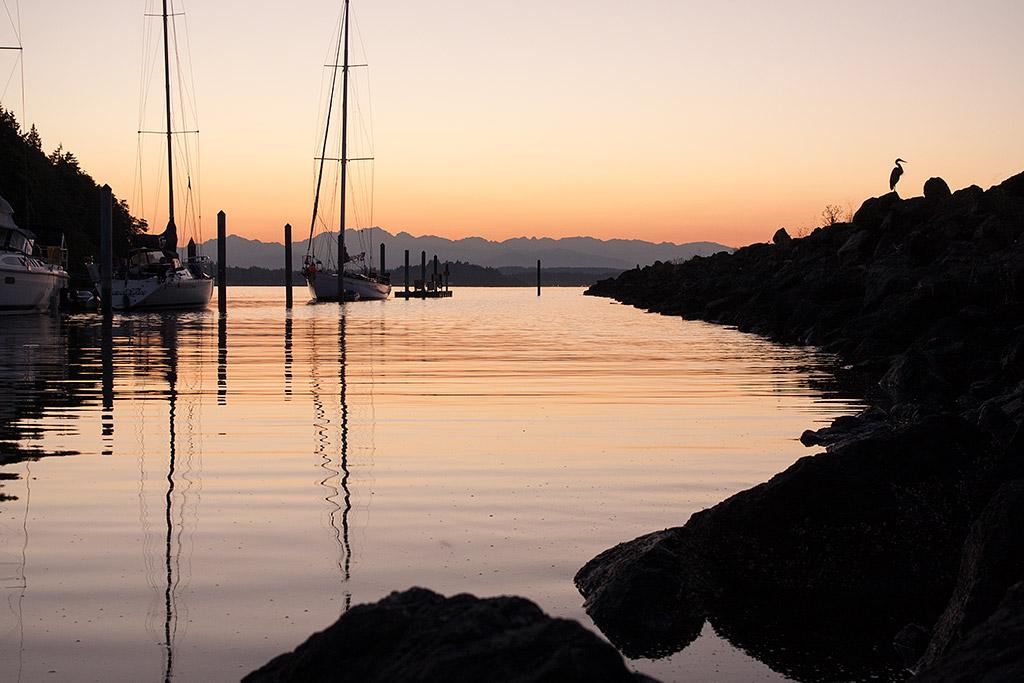 Blake Island state park marina at sunset