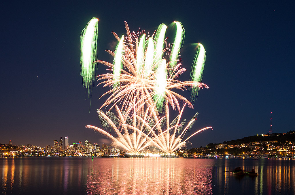 Fourth of July Fireworks at Gassworks Park in Seattle. 2012.