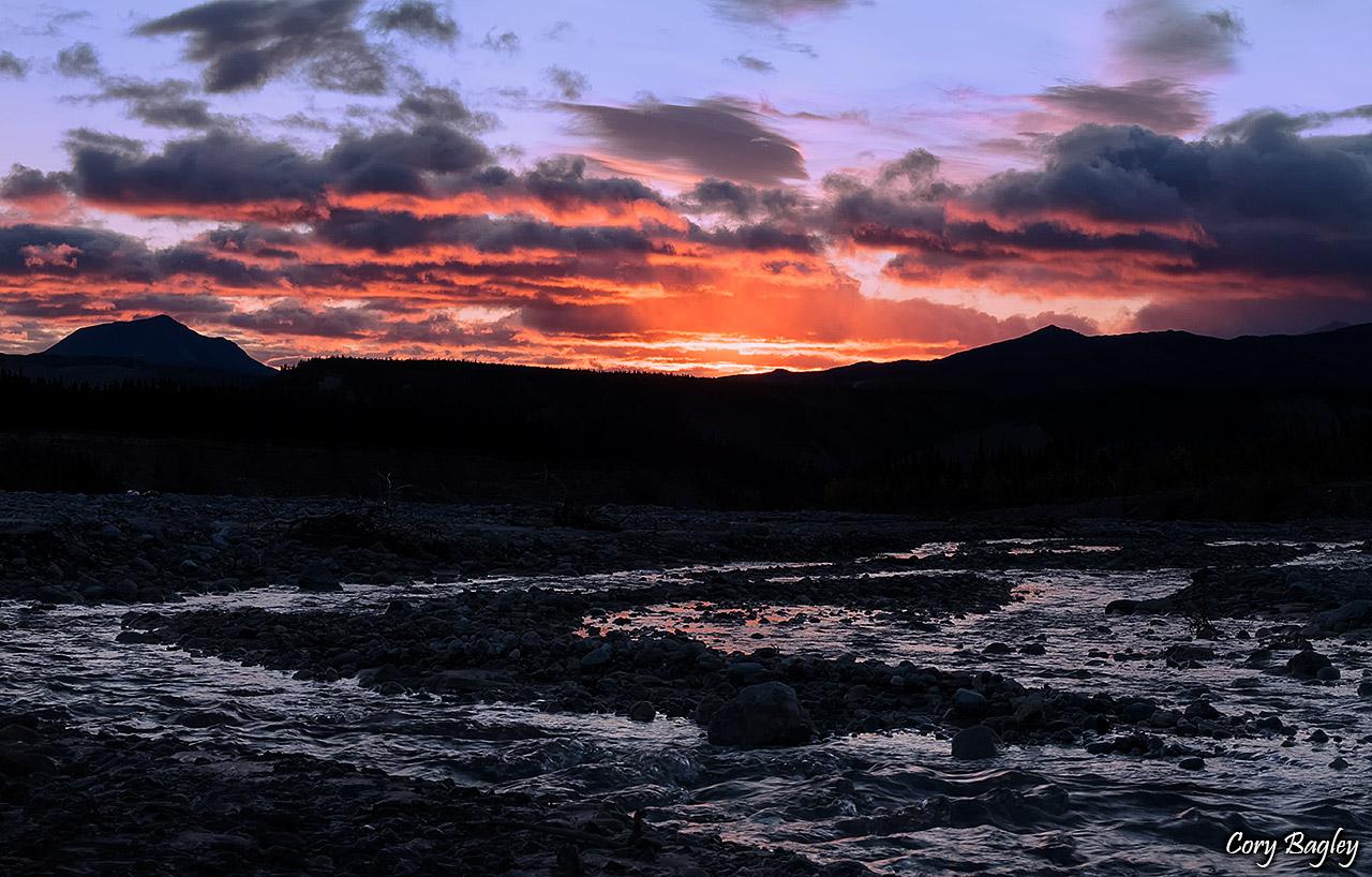 Sunrise over Dry Creek in Healy, Alaska
